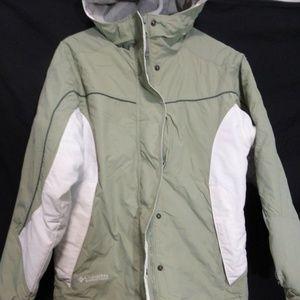 VTG Columbia, green, white, gray jacket w/  hoodie